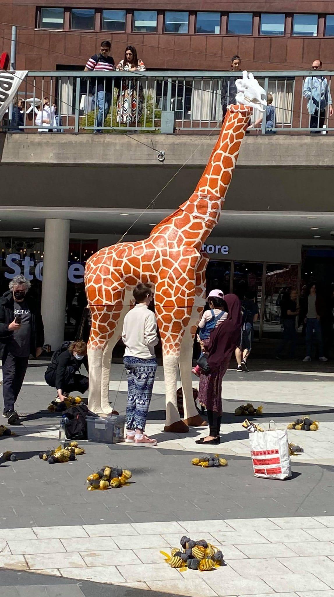 Large full-sized paper mache giraffe