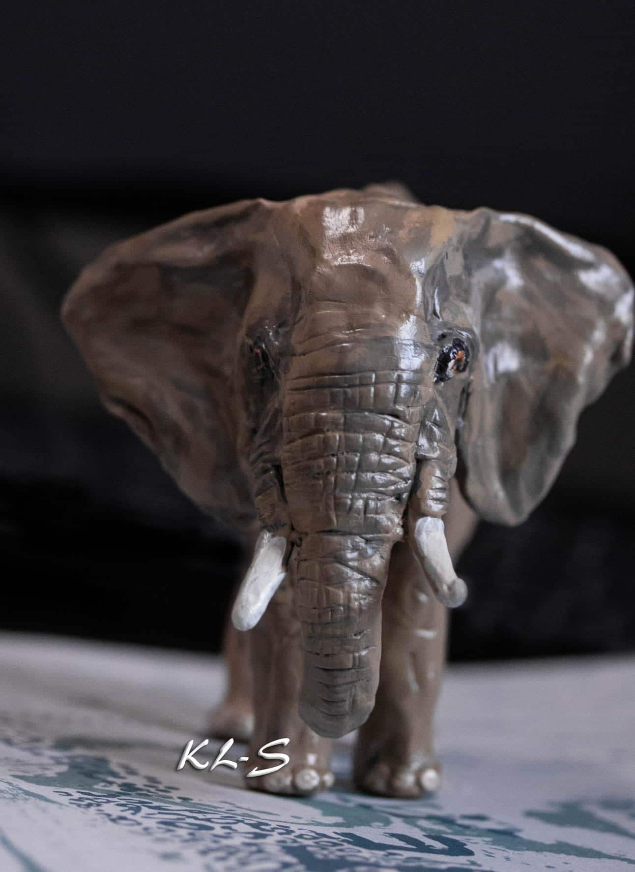 Elephant sculpture made with paper mache clay