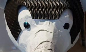 Iorek, paper mache bear head