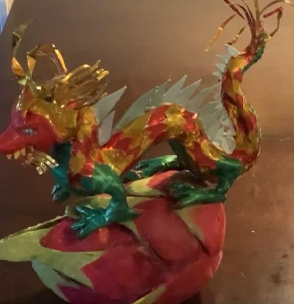 Chinese dragon on dragon fruit.