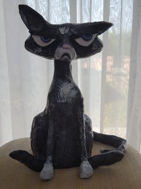 Grumpy cat sculpture in paper mache