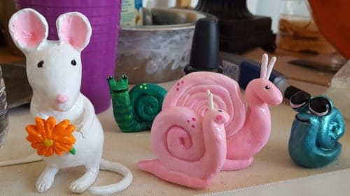 Paper mache mouse and friends
