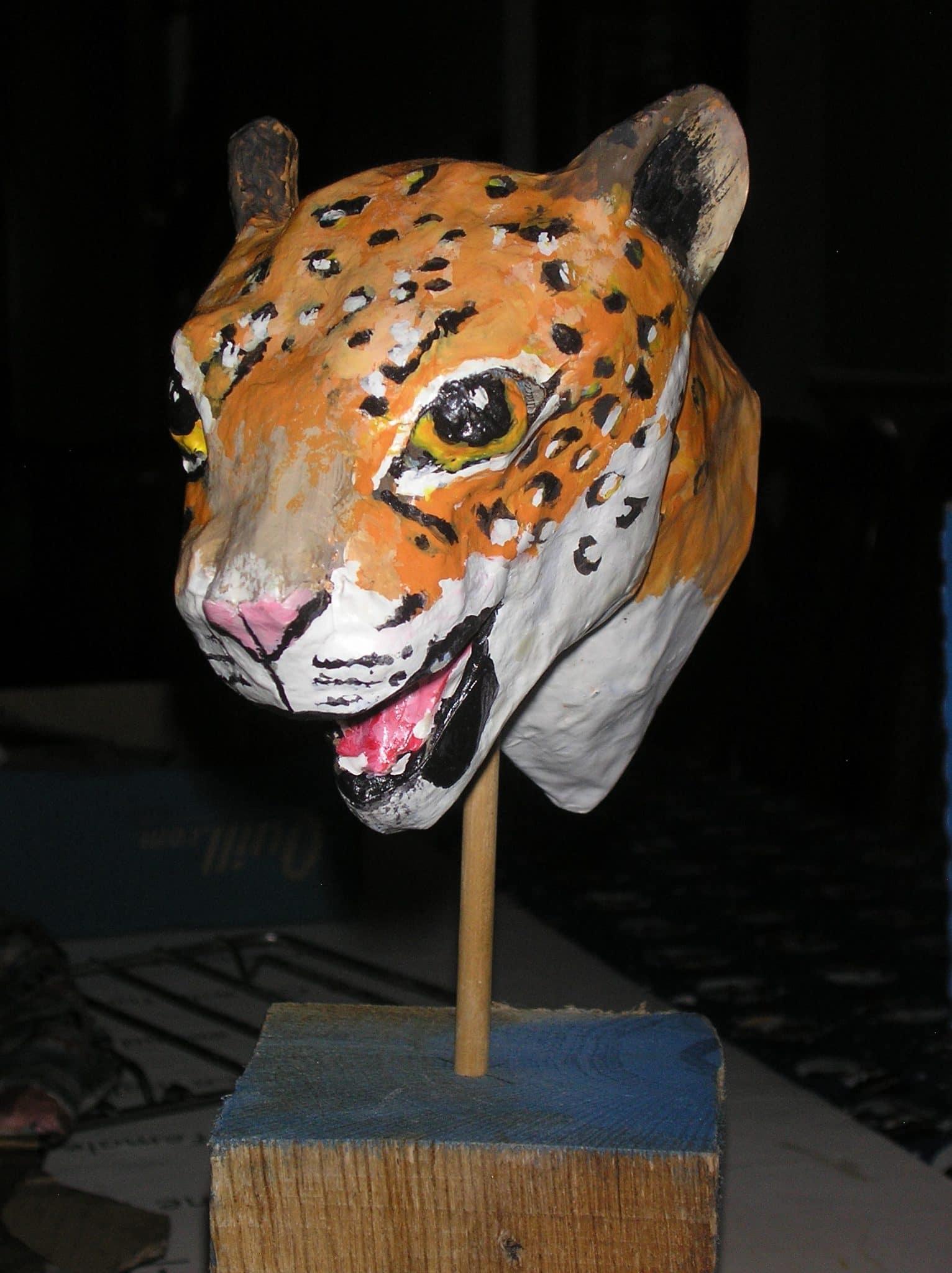 Paper mache jaguar head