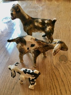 Nubian Goat Family, Made with Paper Mache Clay