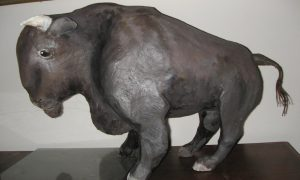 Finished paper mache bison