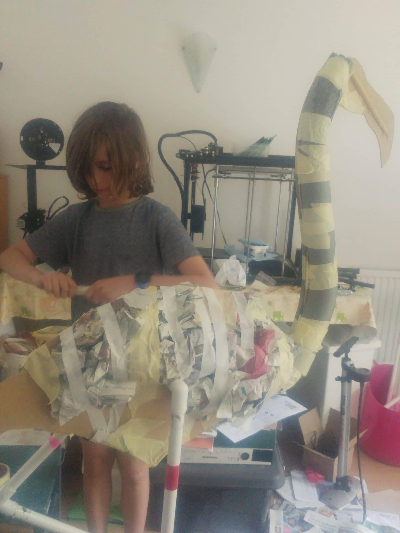 Paper mache flamingo armature with paper padding