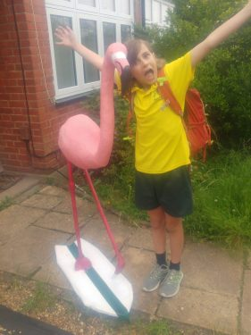 Paper mache flamingo - 5th grade project