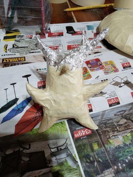 Paper mache Korok in progress