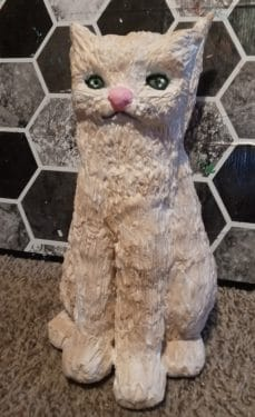 Cat sculpture made with air dry clay
