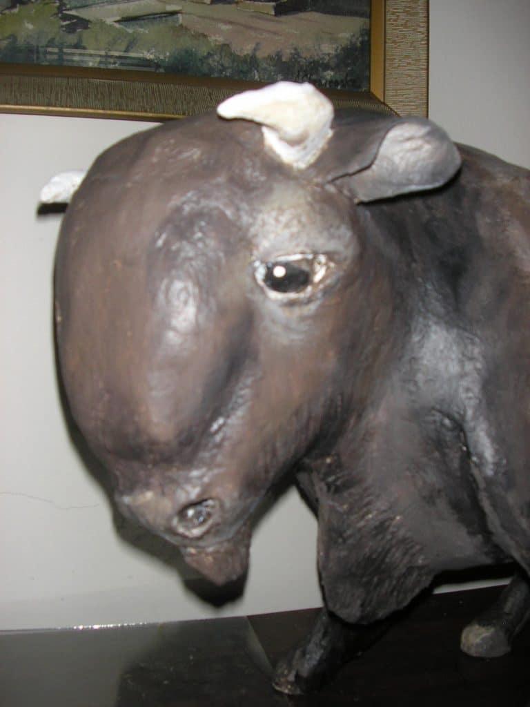 Paper mache bison head.