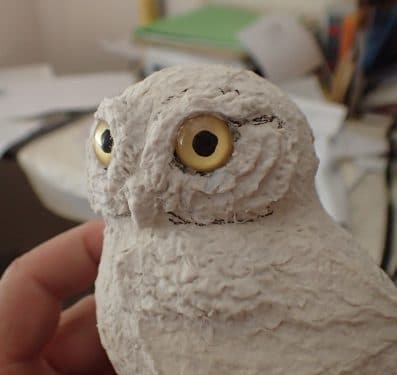 Paper mache Arizona Elf Owl, in progress.