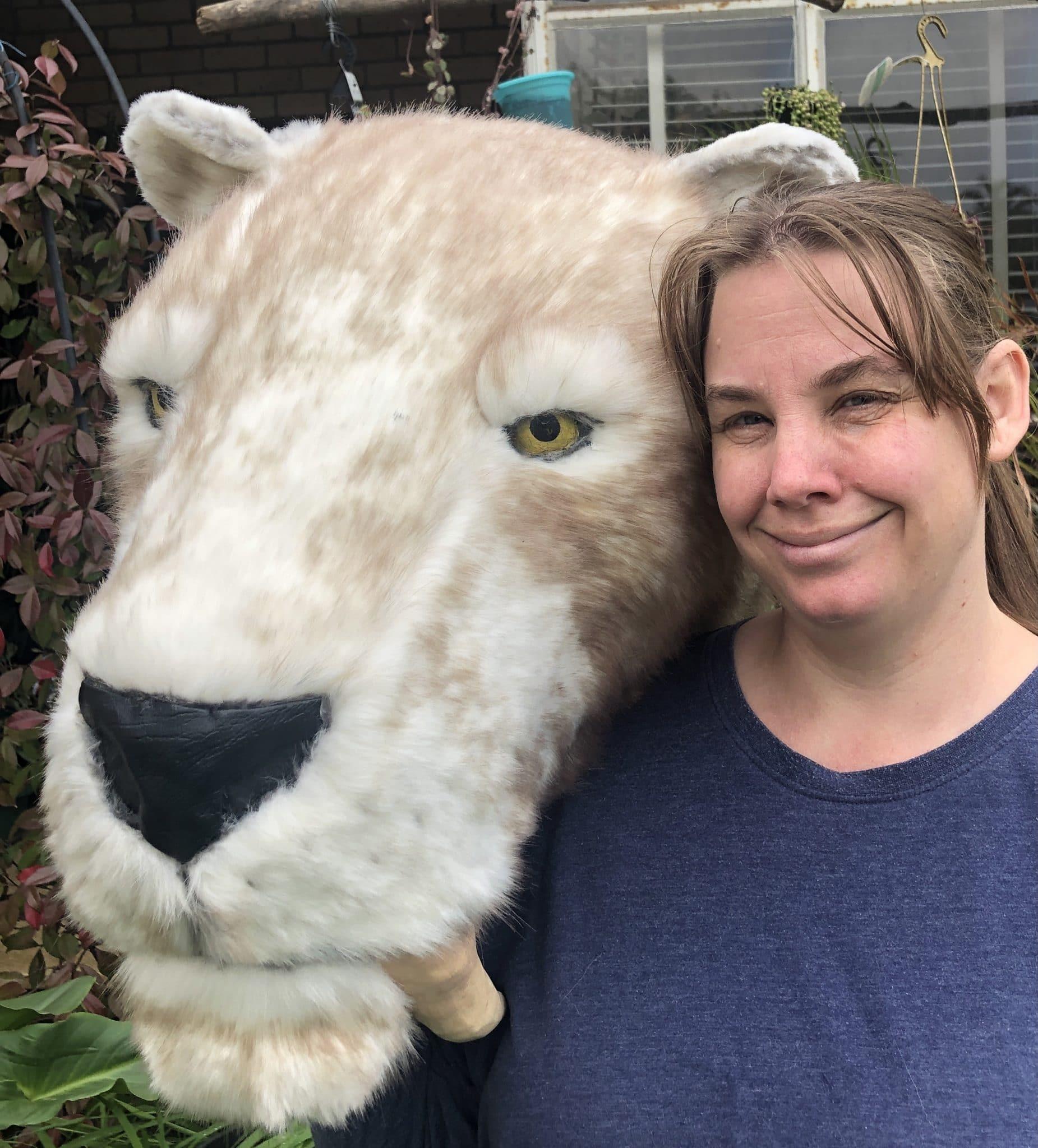 Sabertooth tiger head sculpture
