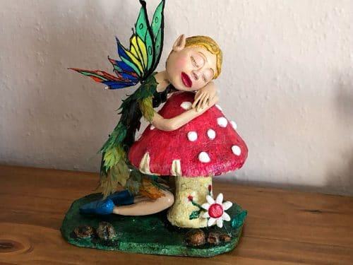 Mushroom fairy made with air dry clay