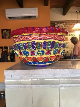 paper mache bowl with Mexican colors