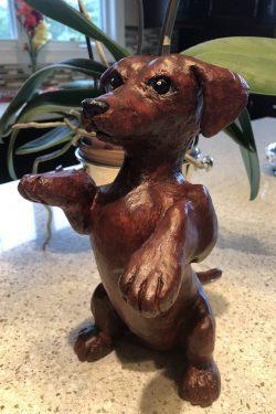 Paper mache dachshund by Louis Gire