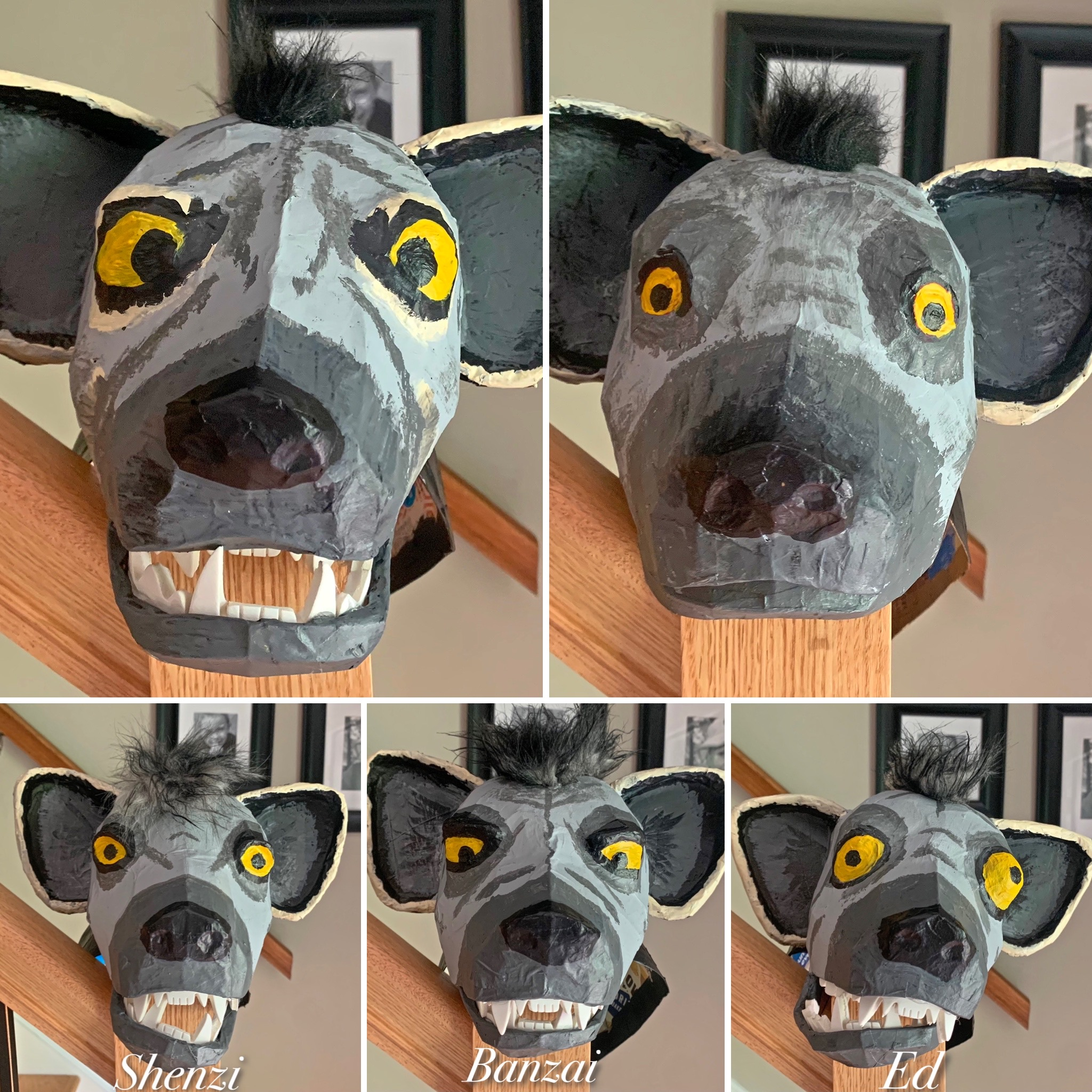 Group of Hyena masks for the Lion King Play