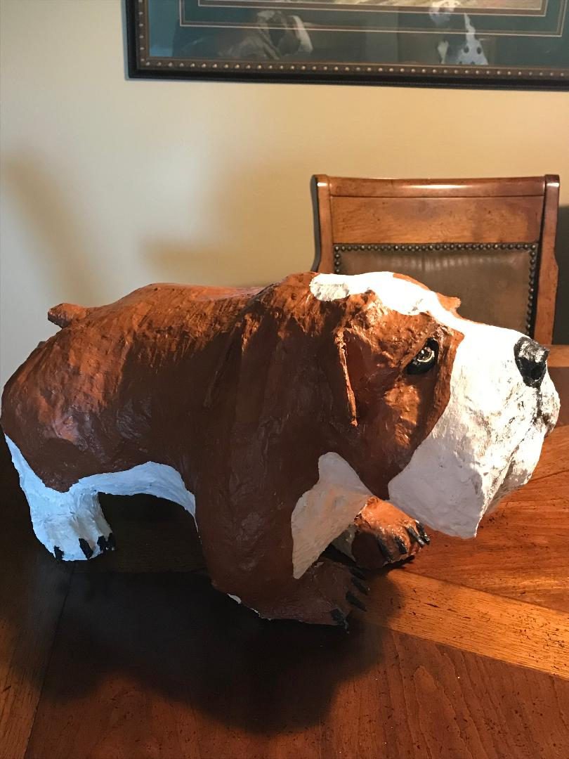 Paper mache bulldog made by Connie Kulow