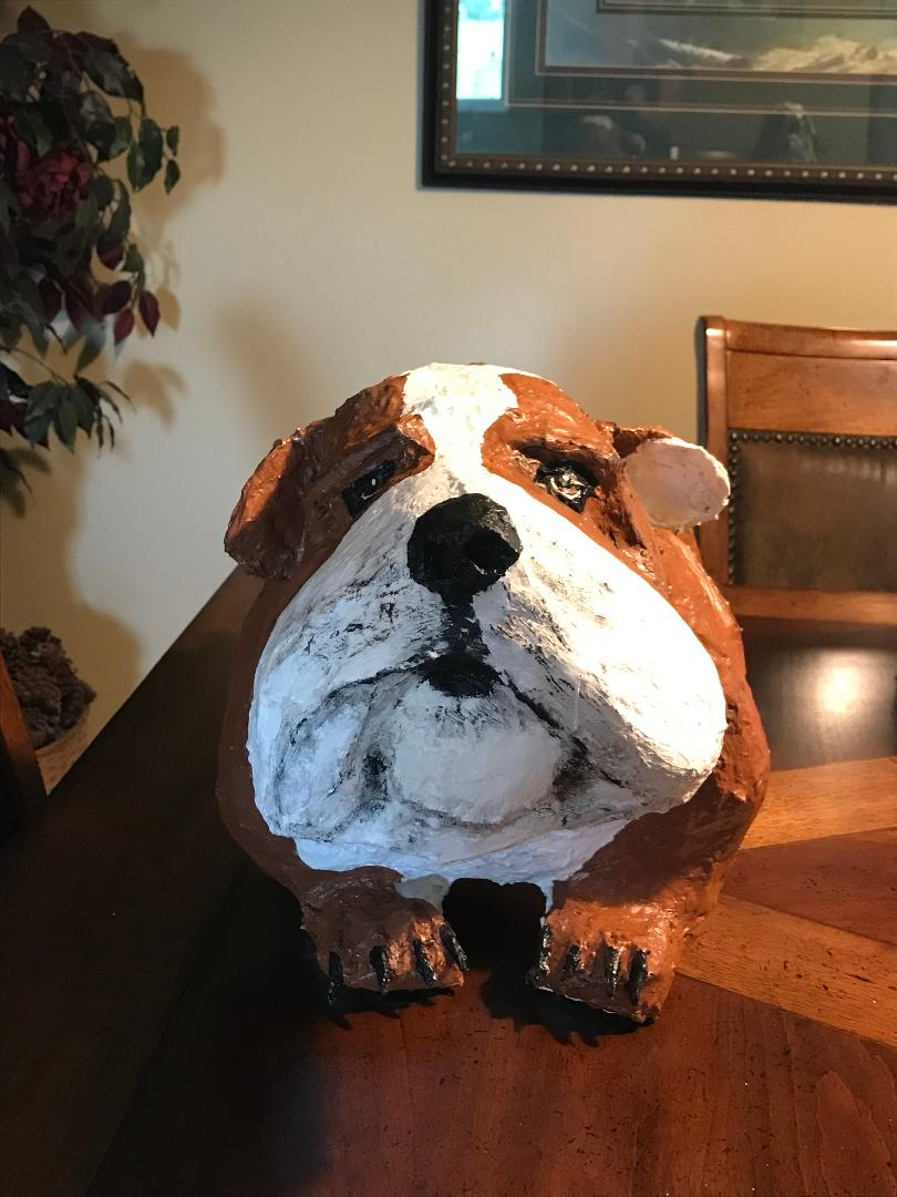 Paper mache bulldog's face
