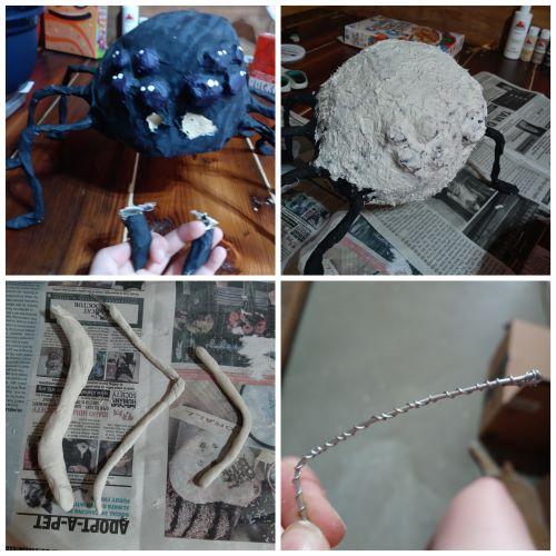 Making the paper mache spider