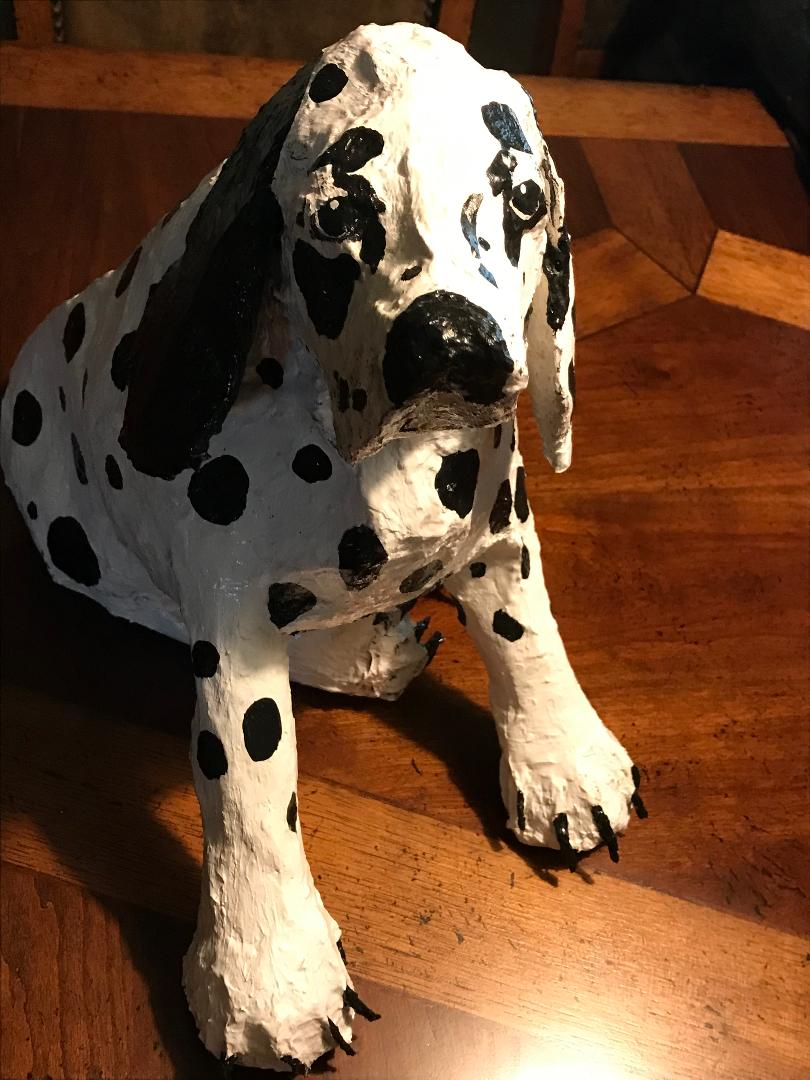 Paper mache dalmatian made by Connie Kulow.