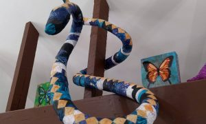 Paper mache snake, named Hisss