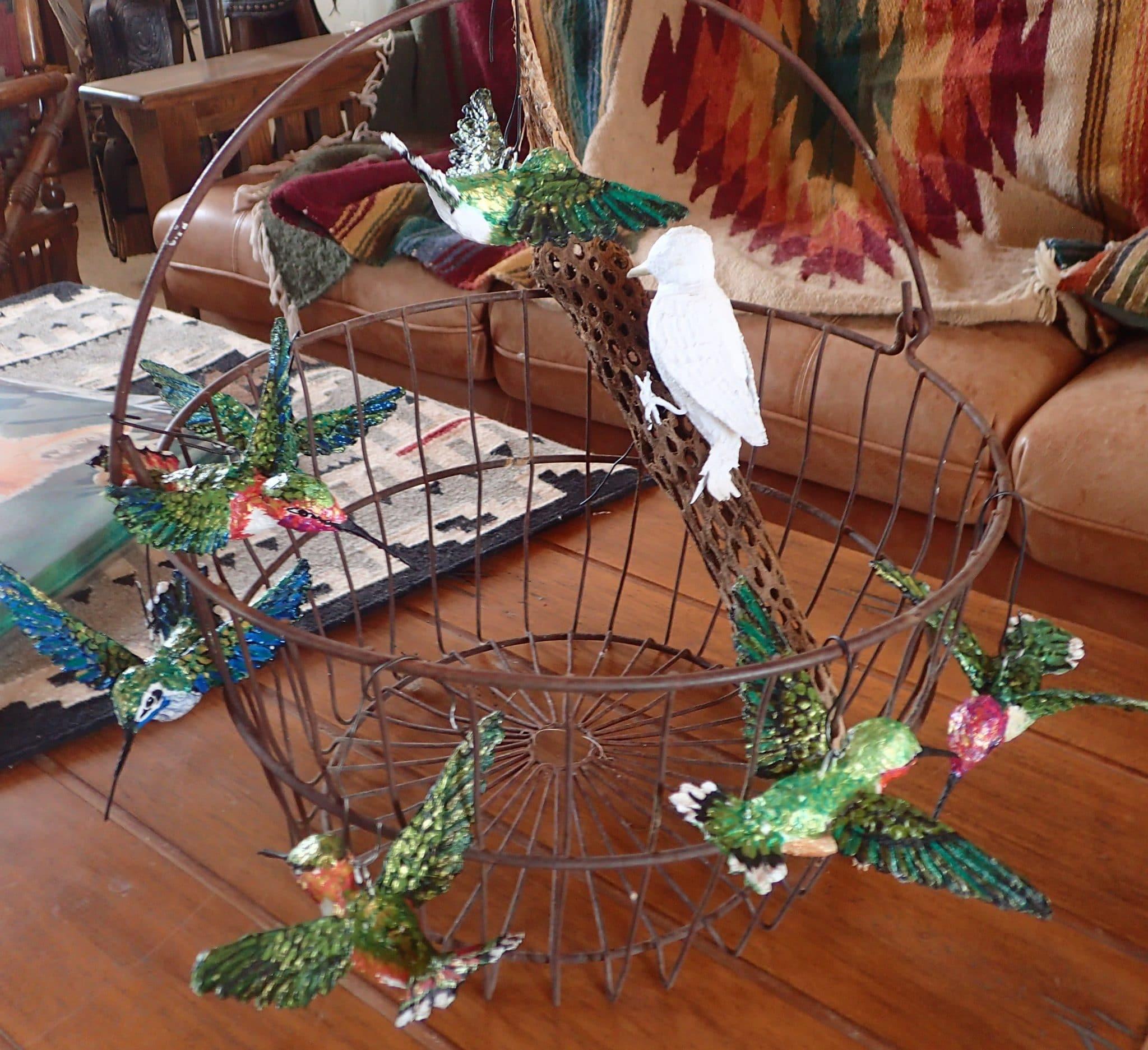 Paper mache hummingbirds