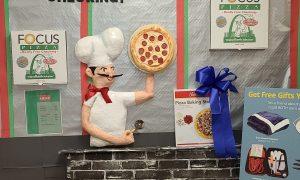 Pizz man paper mache sculpture
