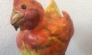 Paper mache crazy chicken