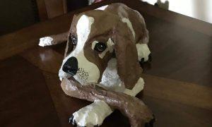 Paper mache beagle