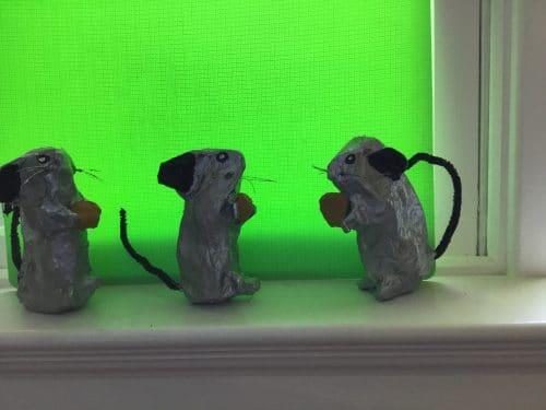3 paper mache mice