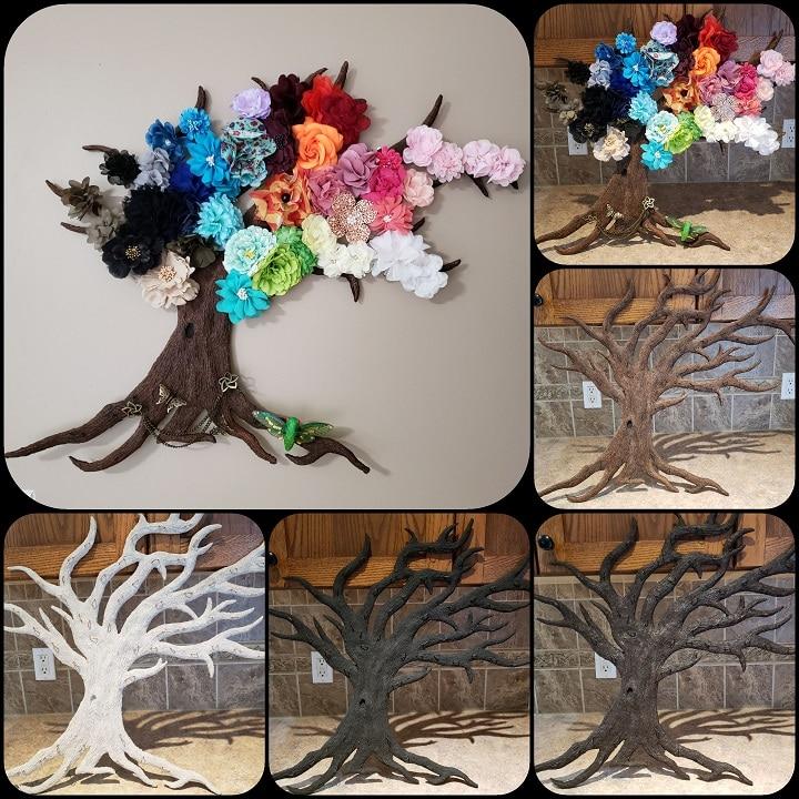 Paper mache flower tree
