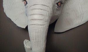 paper mache elephant wall sculpture for nursery