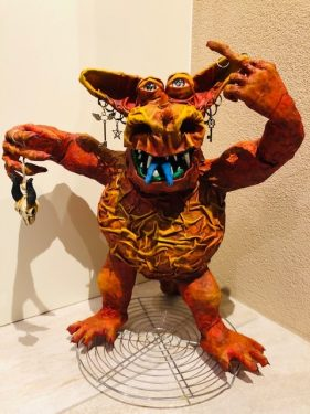 Paper mache monster by ilja Broné