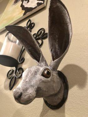 paper mache jackrabbit head