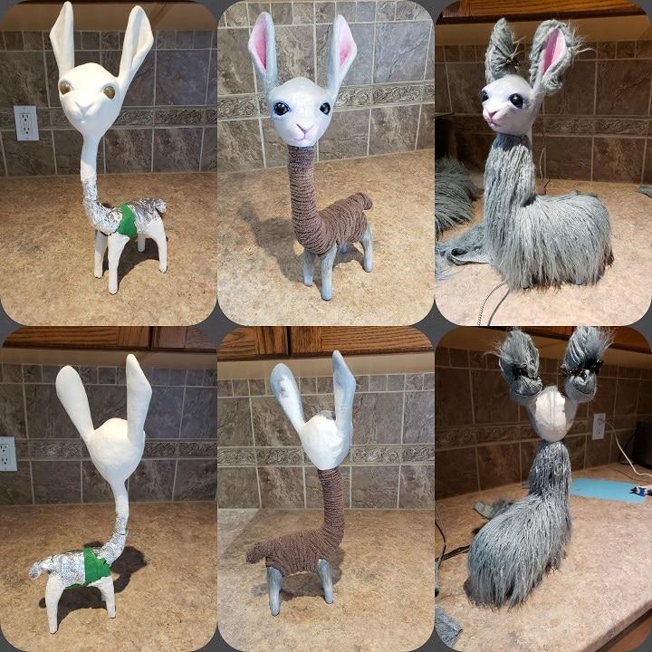 Cute Llama sculpture armature and steps