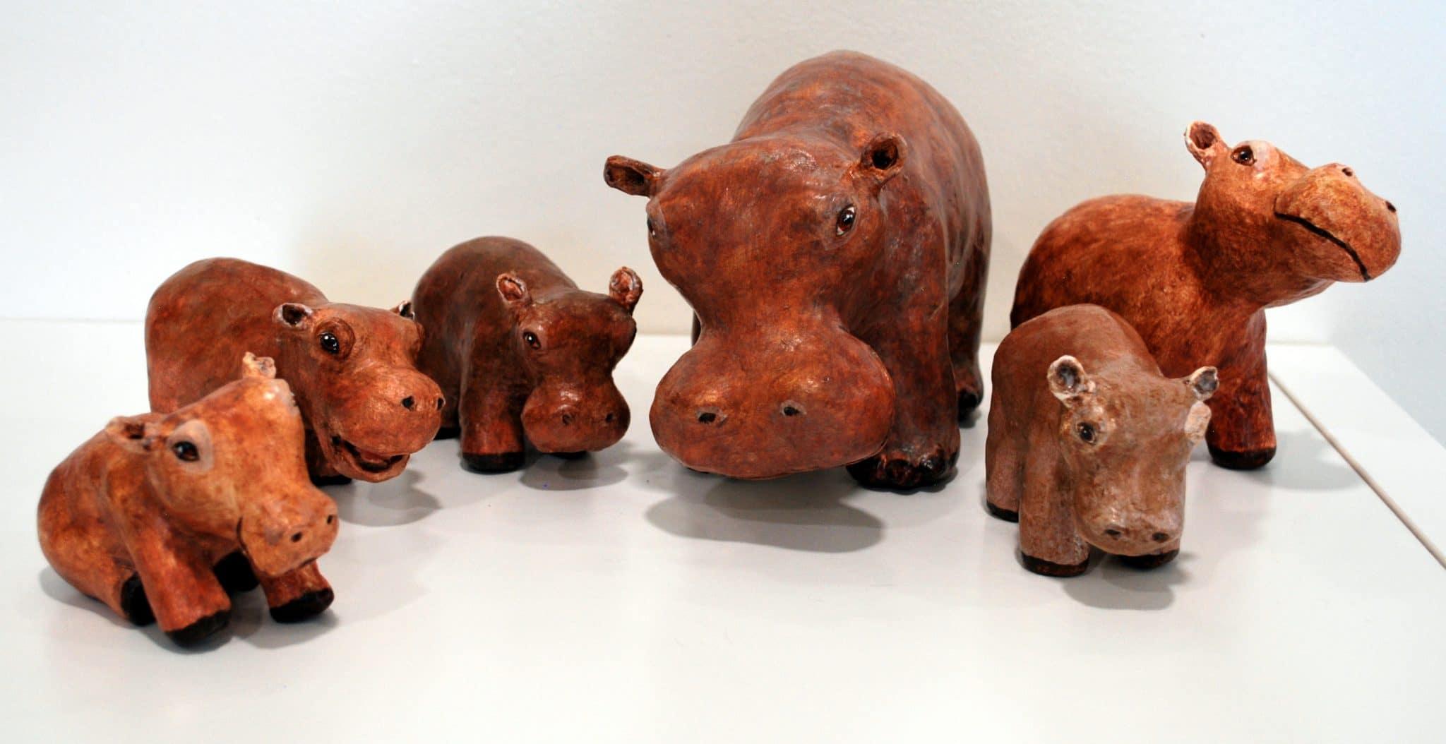 Paper mache hippos by Rex Winn
