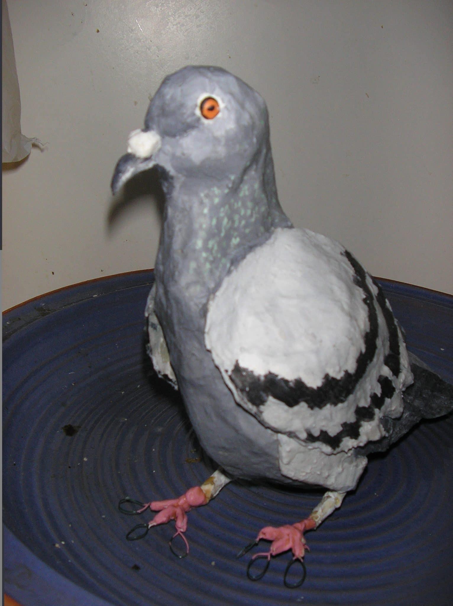 Paper mache pigeon