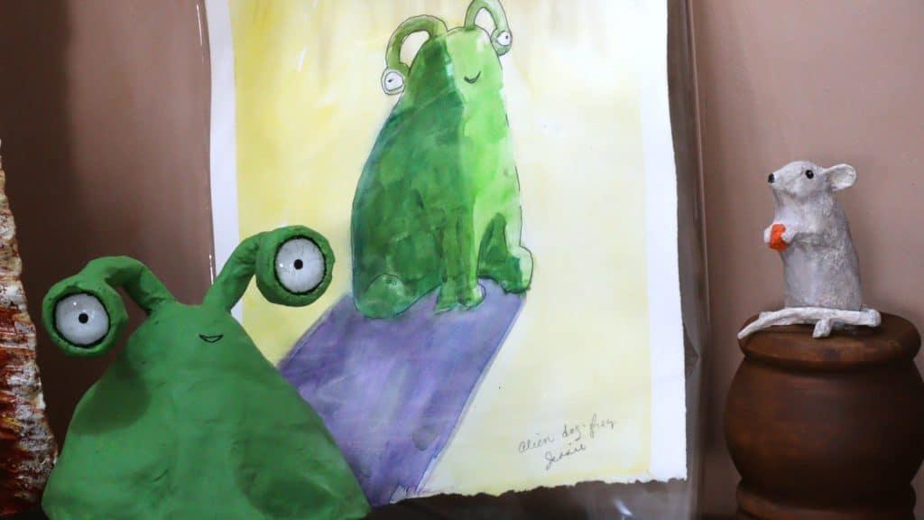 Paper mache alien with his watercolor portrai
