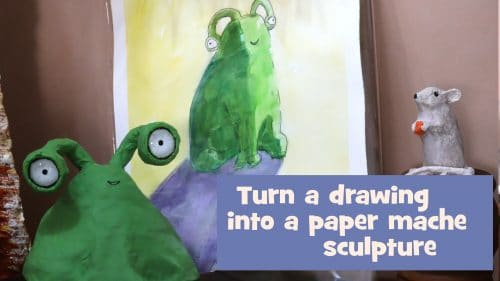 turn a drawing into a paper mache sculpture featured