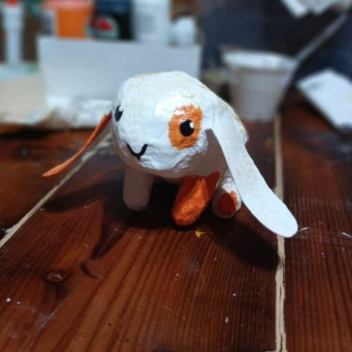 Little rabbit made with paper mache