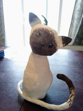 Siamese cat sculpture by Lily Peterson