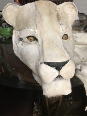 Paper mache lion head for rug