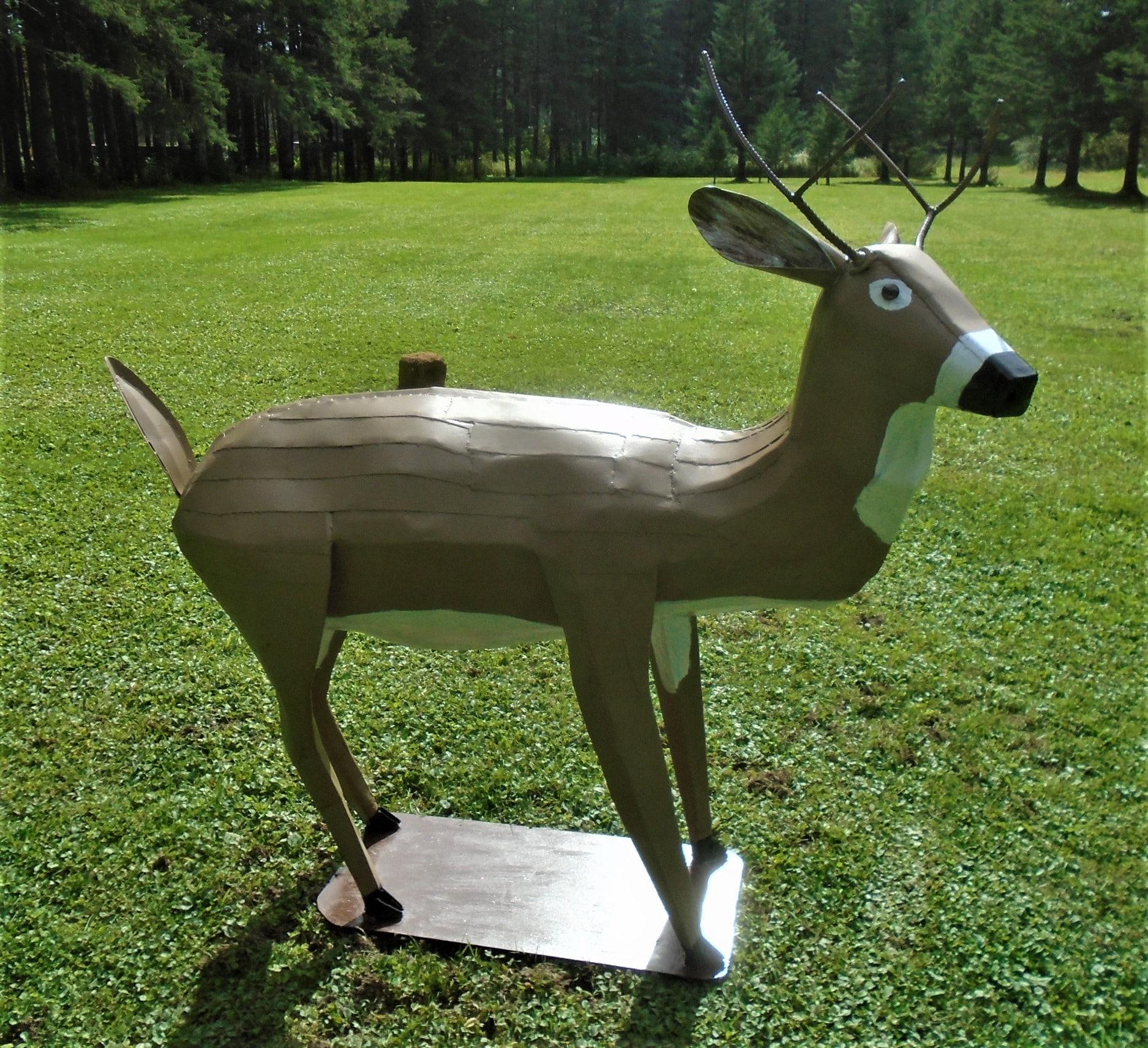 Steel Deer Sculpture