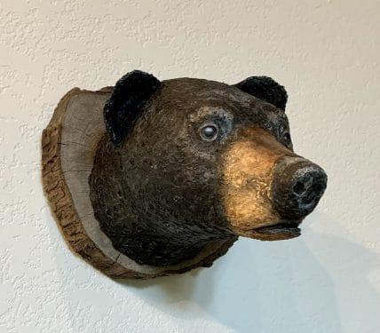 Paper mache bear trophy mount by Bob Speare
