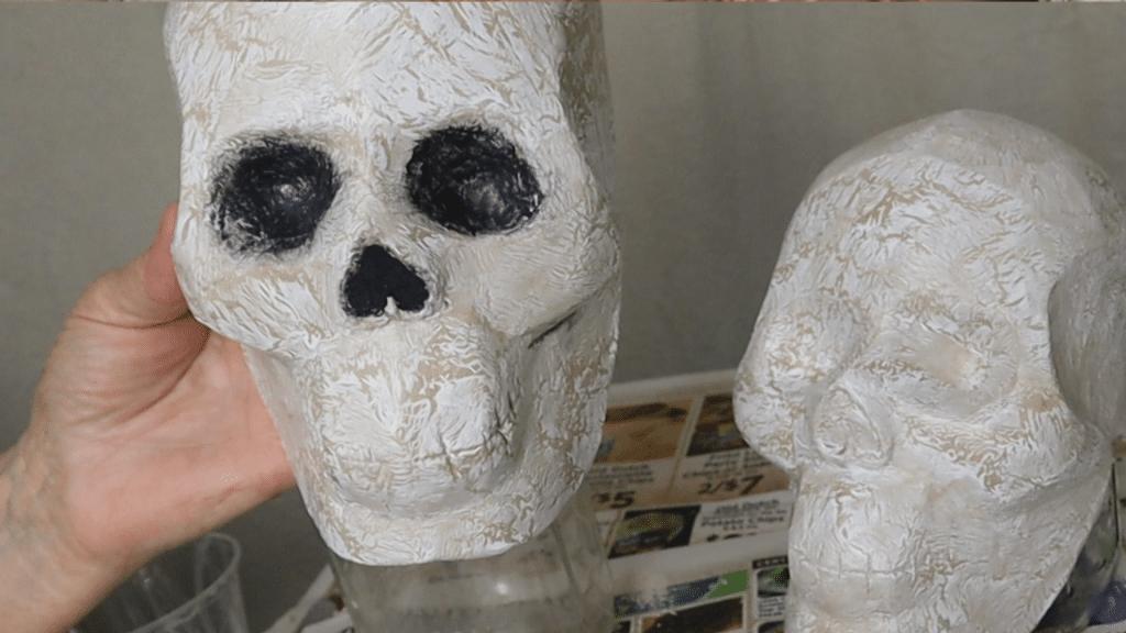 Painting shadows in the skull eye sockets