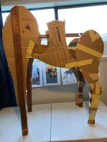 paper mache giraffe body armature in progress