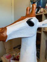 paper mache giraffe head in progress