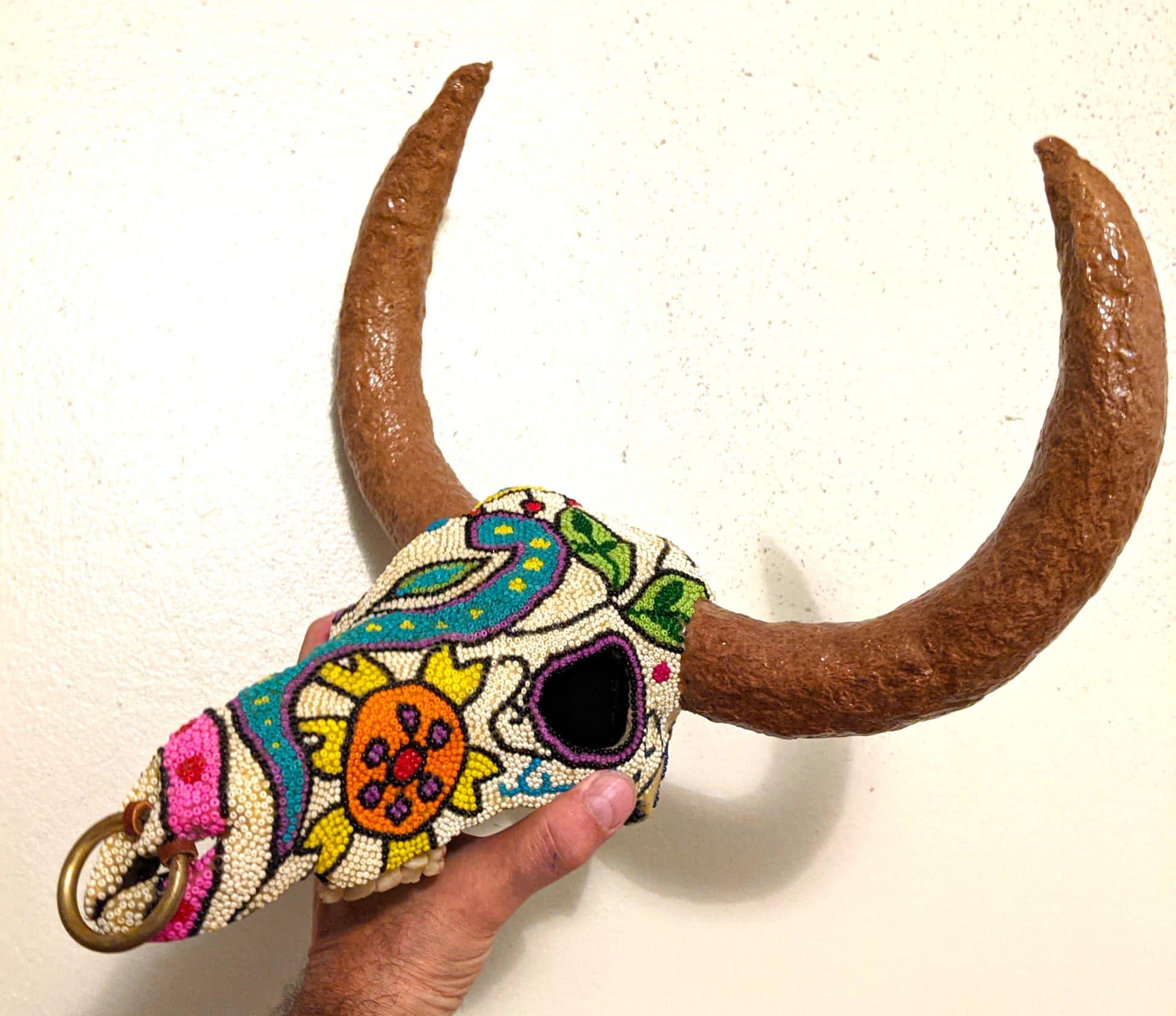 Paper mache bulls's skull