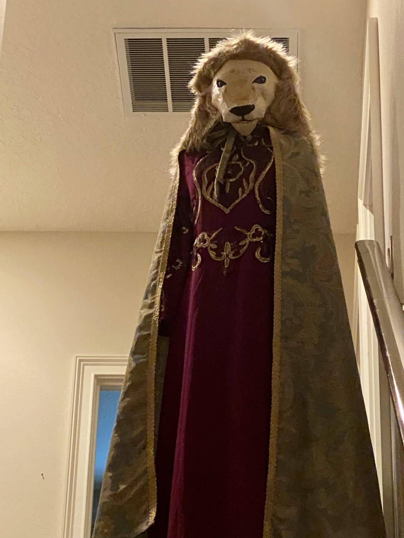 Paper mache mask for the Lion the Witch and the Wardrobe