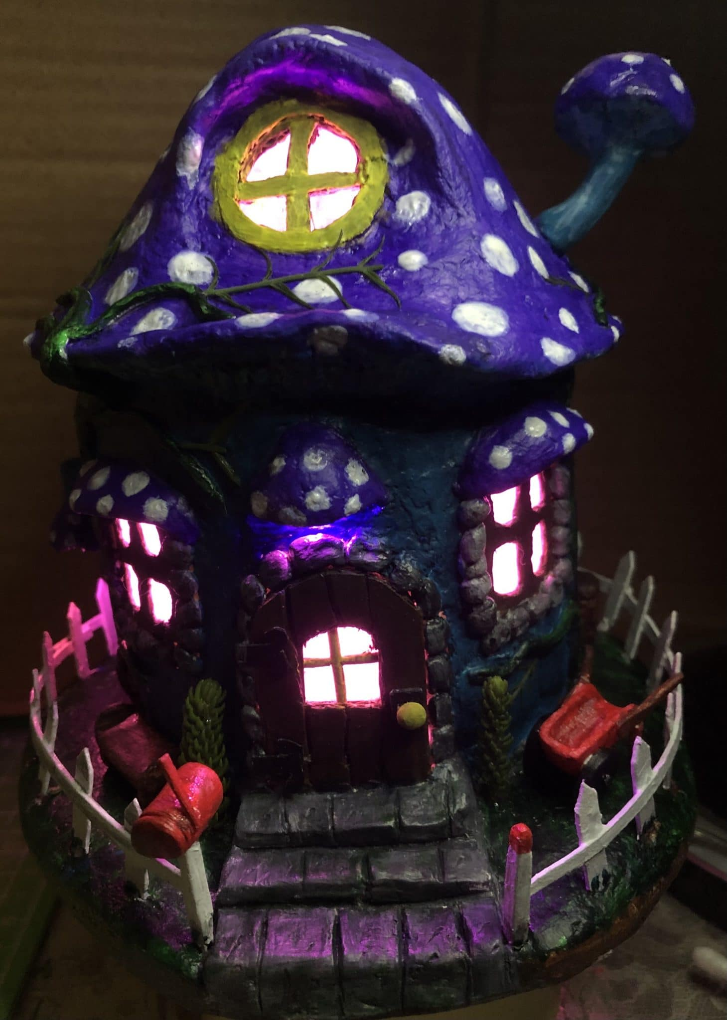 Lighted paper mache fairy house